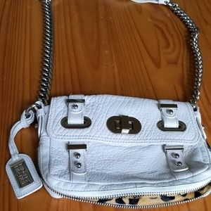 Badgley Mischka white leather bag